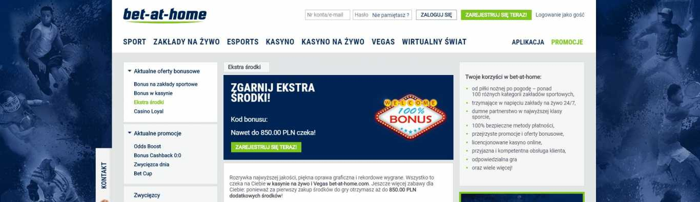 Bet at home bonus w kasynie na żywo