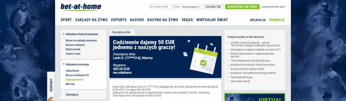 Bet at home codziennie dajemy 50 EUR