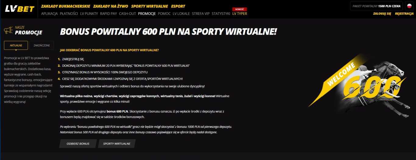 bonus powitalniy LVbet na sporty wirtualne
