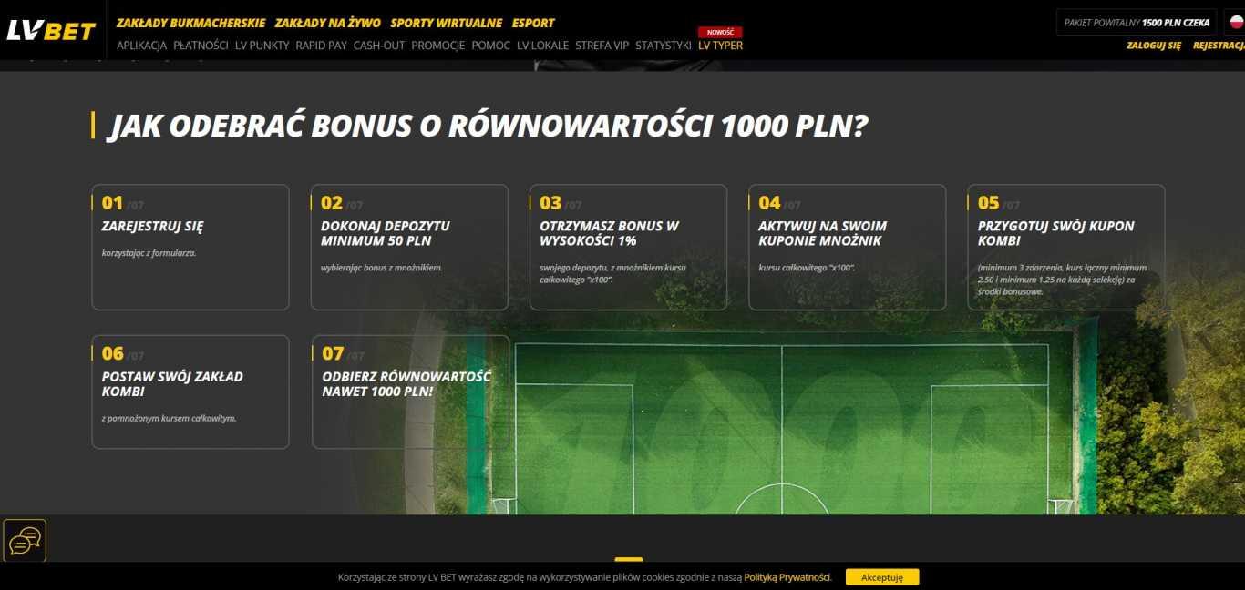 jak odebrac bonus o rownowartosci 1000 pln LVbet