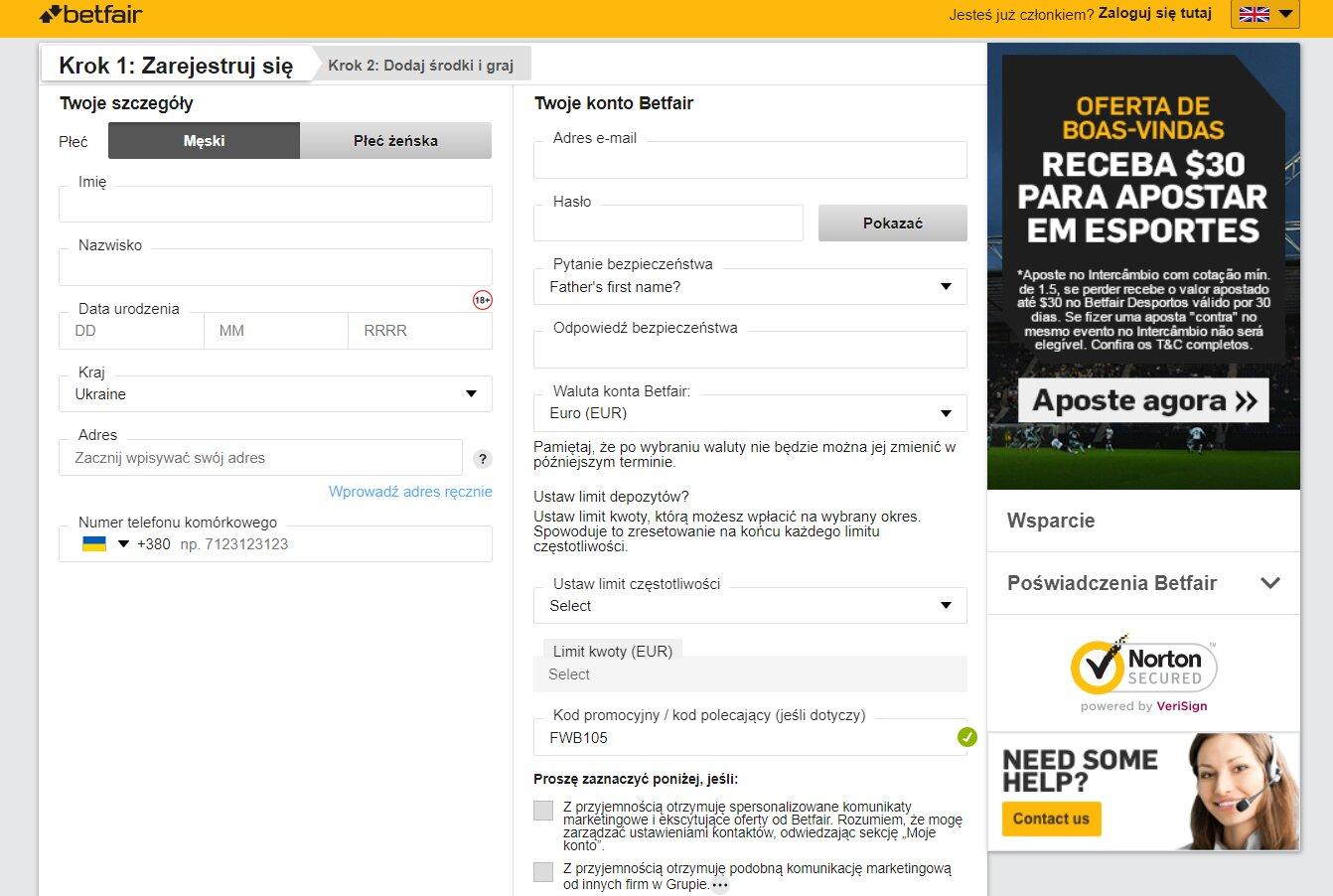 Jak zarejestrować bonus na start Betfair