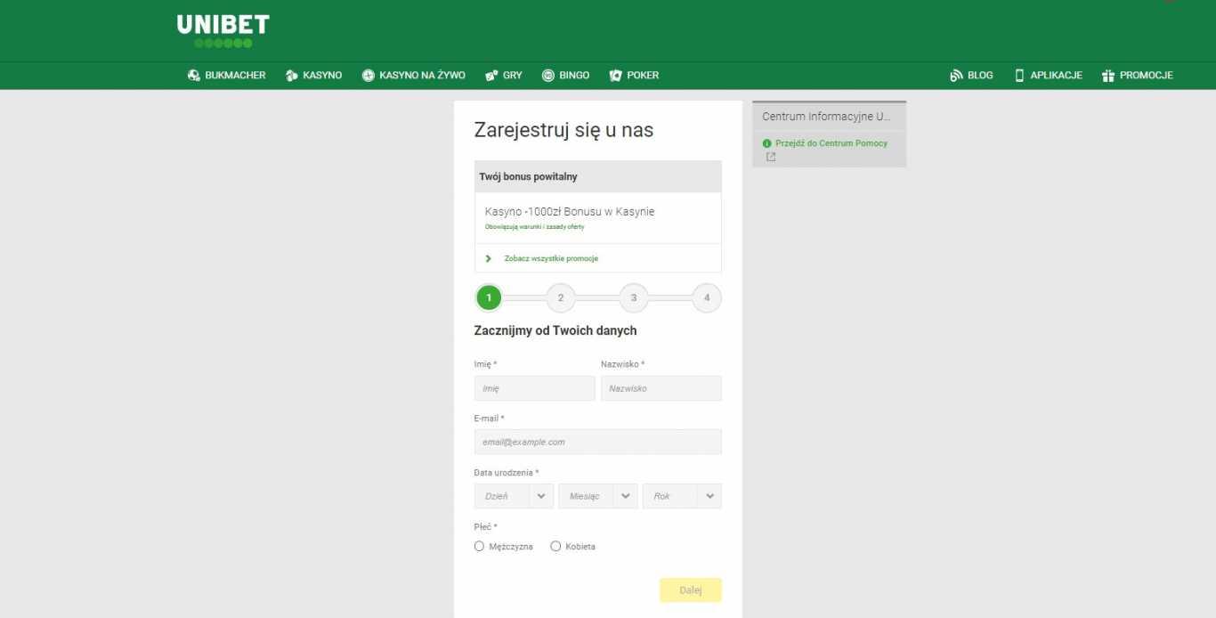 Rejestracja nowego użytkownika unibet